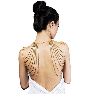 Chic Women Metallic Double Two Shoulders Body Harness Chain Jewelry