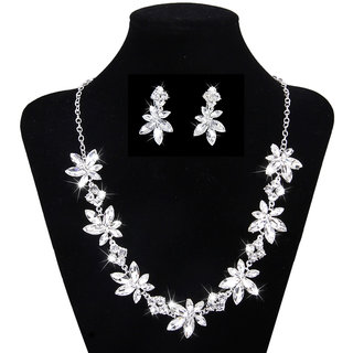Phenovo Bridal Wedding Party Jewelry Rhinestone Necklace Earring Set