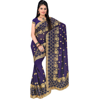 ArDeep Fashion Persent Women Georgette Embroidered Blue Saree