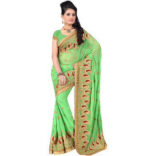 ArDeep Fashion Persent Women Georgette Embroidered Green Saree