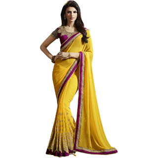 ArDeep Fashion Persent Women Georgette Embroidered Yellow Saree