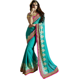 ArDeep Fashion Persent Women Viscose and jacquard Embroidered Green Saree