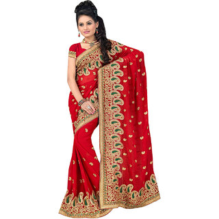 ArDeep Fashion Persent Women Georgette Embroidered Red Saree