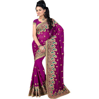 ArDeep Fashion Persent Women Georgette Embroidered Violet Saree