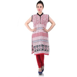 Factory Direct Red Printed Dupion Silk Stitched Kurti