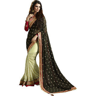 ArDeep Fashion Persent Women Georgette Embroidered Black Saree