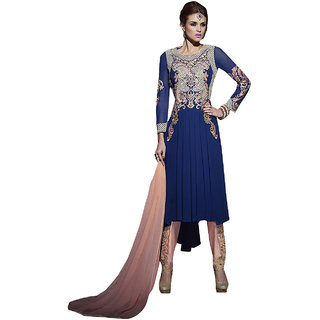 ArDeep Fashion Persent Women Polyster Georgette Embroidered Blue Dress Material