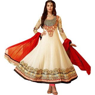 ArDeep  Woman Faux Georgette Embroidered Cream Dress Material