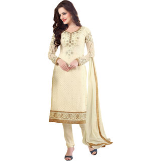 ArDeep Woman Brasso Embroidered Cream Dress Materials