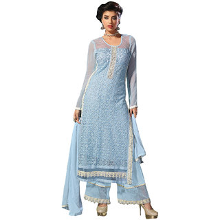ArDeep Fashion Persent Women Semi Georgette Embroidered Blue Dress Material