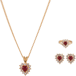 1c5094157425d Shining Jewel Maroon Heart Shaped Zirconia Gold Plated Necklace Set With  Finger Ring (SJ2025)