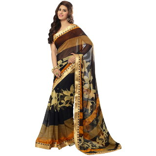 Lookslady Beige Brocade Printed Saree With Blouse