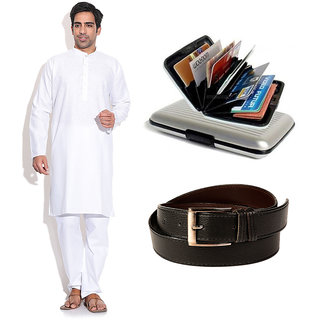 Prime Club Men'S White Kurta Pajama Set With Belt  Cardholder