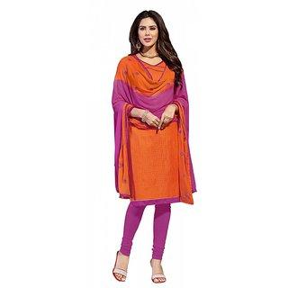 khoobee Presents Cotton Checks Dress Material (Orange,Rani)