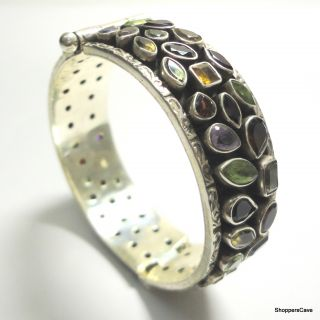 Shoppers Cave Designer Sterling Silver Bracelet Setted With Multi Color Stones