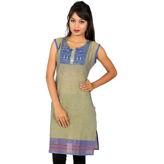 Blue Embroidery Cotton Kurti