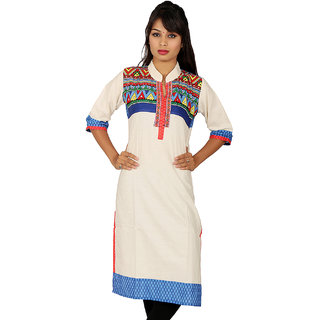 White Kurti with Multi Color Print Front  Half Blue on Back