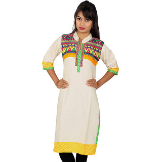 White Kurti with Multi Color Print Front  Half Yellow on Back