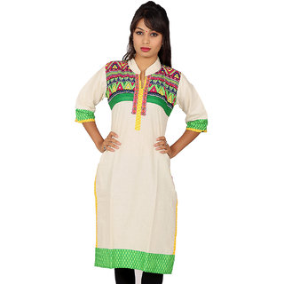 White Kurti with Multi Color Print Front  Half Green on Back