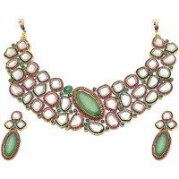 Kriaa Mithya  Attractive Design Pink & Green Austrian Diamond Stone Necklace Set