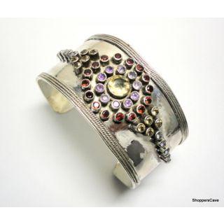 Shoppers Cave Designer Sterling Silver Bracelet Setted With Multi Color Gem Stones