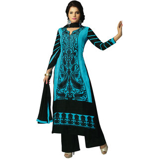 SGC Blue  Black Cotton karachi Embroidery unstitched churidar Kameez  (NKT-2200)