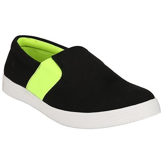 Jeroni Mens Canvas Black  Green Casuals Shoe