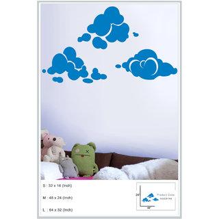 Decor Kafe Sticker Style Clouds Wall Sticker (32x16 Inch)