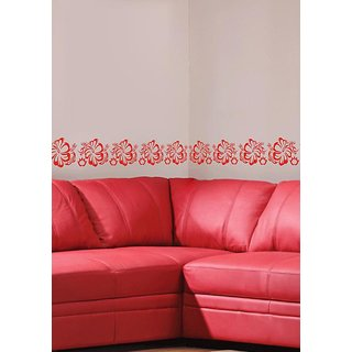 Decor Kafe Decal Style Flower Blossoms Border Wall Sticker Size-S 1204 Inch Color-Black