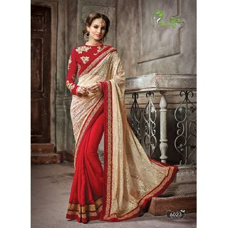 new designer half and half bollywood style party wear red and  beige saree