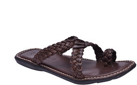 Hirels Brown Designer Slippers