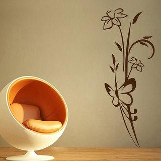 Decor Kafe Abstract Flower Butterfly Wall Sticker (19x51 Inch)