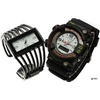Stylish Combo  Of Jalli Kada And Deual Time Watch- Mens Watch And Womens Watch Mf17