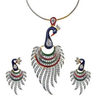 Divya Peacock Pendent Set