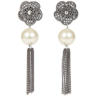 Envy Jewellery Antique Silver Plated Pearls Dangle Earring
