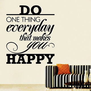 Decor Kafe Happy Quote Wall Decal 29x35 Inch)