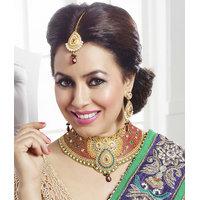 Kriaa Mithya  Ethnic Design Austrian Diamond Stone Red Drop Necklace Set with Ma