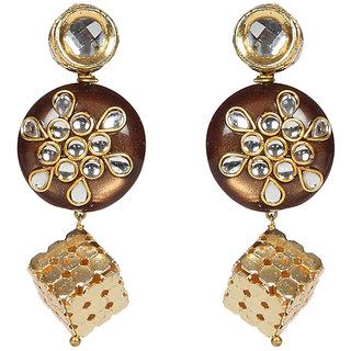 Envy Jewellery Gold Plated Kundan Dangle Earring