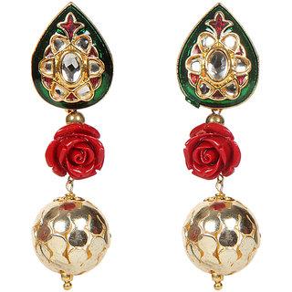 Envy Jewellery Gold Plated Kundan  flower Dangle Earring