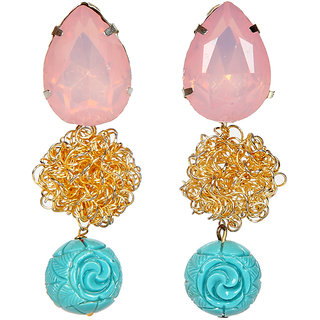Envy Jewellery Gold Plated Stone Dangle Earring