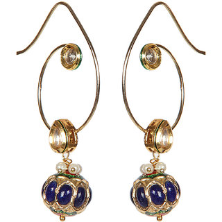 Envy Jewellery Gold Plated Gold  blue Dangle Earring