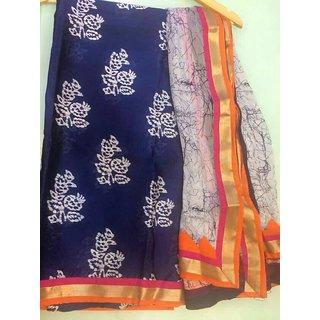 Unstich piece in maheshwari with batik print and pure dupatta pure chiffon