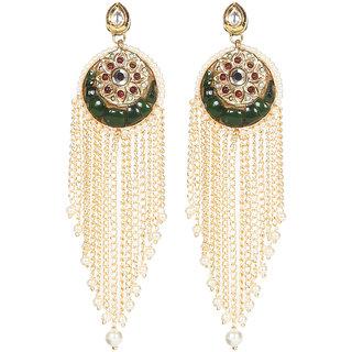Envy Jewellery Gold Plated Kundan, pearls  semi precious chips Dangle Earring