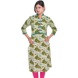 Jaipur Kurtis Pure Cotton Printed 3/4th Sleeves Pink Kurti