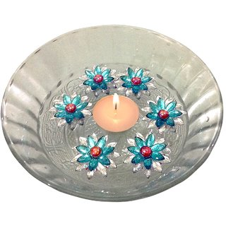 Unique Arts Set of 7 floating diya - one tea light with 6 flowers