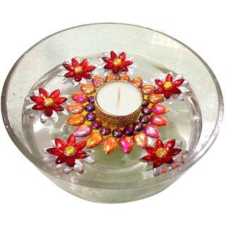 Unique Arts Set of 7 floating tea light - one floating diya with 6 flowers