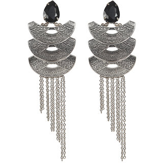 Envy Jewellery Silver Plated Stone  Chain Dangle Earring