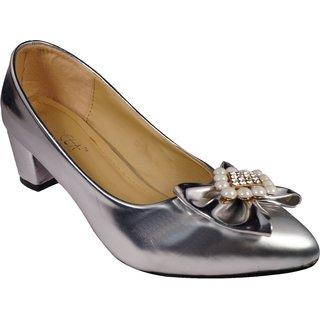 LADELA Sparkling Heel Shoes R729-7-Silver)