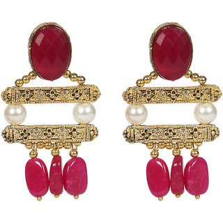 Envy Jewellery Gold Plated Pearls  Natural bead Dangle Earring