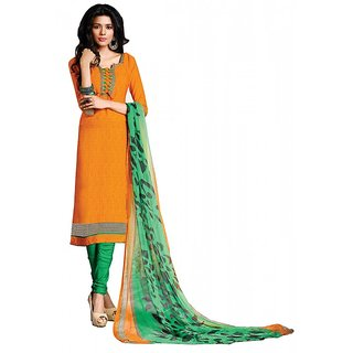 Khoobee Presents Chudidar Dress Material(Yellow,Green)